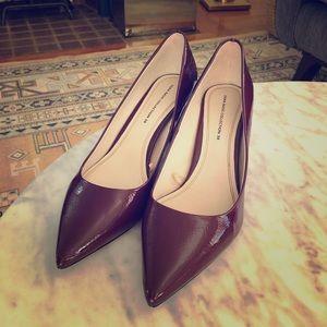 Zara Burgundy block heel pumps